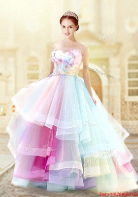 Modest Hand Made Flowers and Ruffled Layers Prom Dress in Rainbow