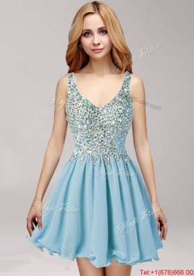 New Arrivals Straps Baby Blue Chiffon Prom Dress with Beading and Ruffles