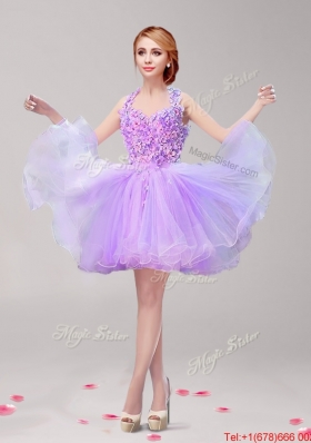 Perfect Halter Top Hand Made Flowers and Ruffled Prom Dress in Lavender