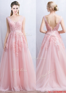 Pretty V Neck Tulle Baby Pink Prom Dress with Appliques and Belt