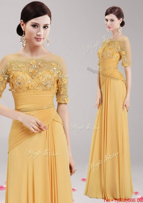 See Through Scoop Half Sleeves Applique and Belted Prom Dress in Gold
