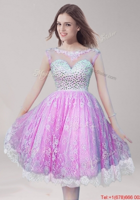 See Through Scoop Knee Length Prom Dress with Beading and Lace