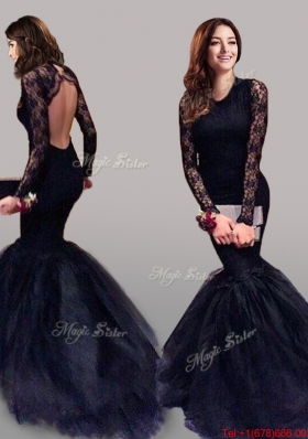See Through Scoop Long Sleeves Laced Mermaid Prom Dress in Navy Blue