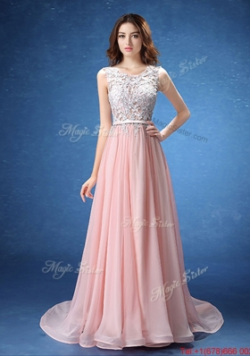 Perfect Scoop Laced and Belted Chiffon Prom Dress in Baby Pink