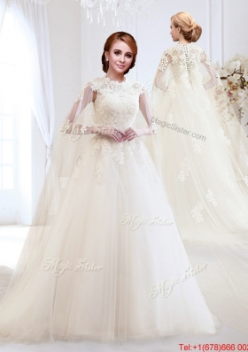 2017 Elegant Applique High Neck Wedding Dress with Brush Train