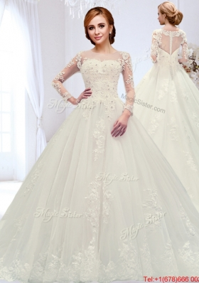 Affordable See Through Zipper Up Beaded Wedding Dress with Court Train