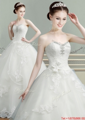 Beautiful Applique and Beaded Top Wedding Dress in Tulle for 2017