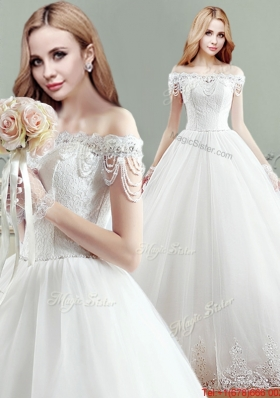 Best Puffy Off the Shoulder Wedding Dress with Appliques and Beading