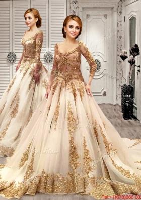 Cheap Deep V Neckline Wedding Dress with Appliques and Sequins