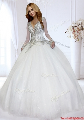 Inexpensive Open Back Beaded Bodice Wedding Dress with Deep V Neckline