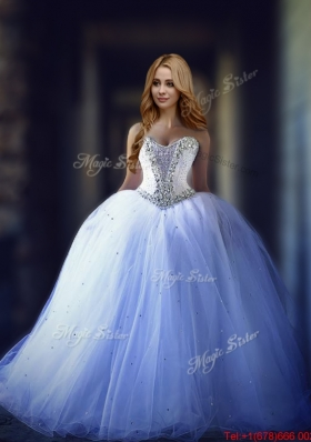Lovely Big Puffy Beaded Tulle Wedding Dress with Brush Train