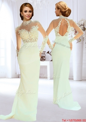 Modern High Neck Column Apple Green Wedding Dress with Beading and Lace