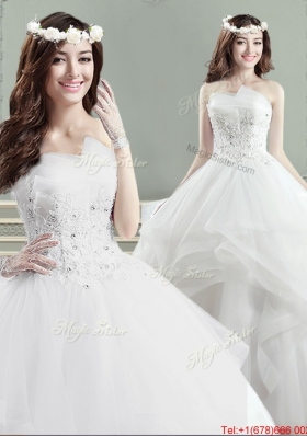 New Big Puffy Applique and Beaded Wedding Dress with Strapless