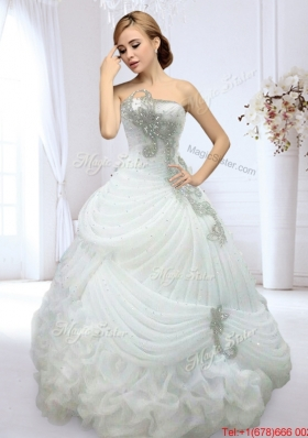 Romantic Organza Strapless Wedding Dress with Beading and Bubbles