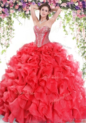 2017 Best Organza Ruffled and Beaded Sweet 16 Dress in Red