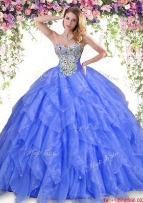 2017 Best Really Puffy Beaded and Ruffled Quinceanera Dress in Organza