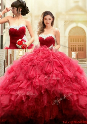 2017 Best Really Puffy Red Sweetheart Quinceanera Gown with Beaded Top and Ruffles