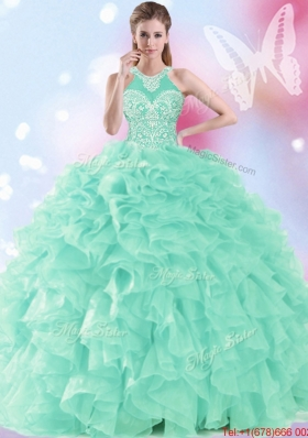 2017 Exclusive Apple Green Halter Top Quinceanera Dress with Beading and Ruffles