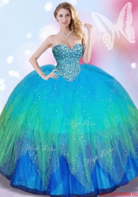 2017 Fashionable Really Puffy Beaded Tulle Quinceanera Dress in Rainbow