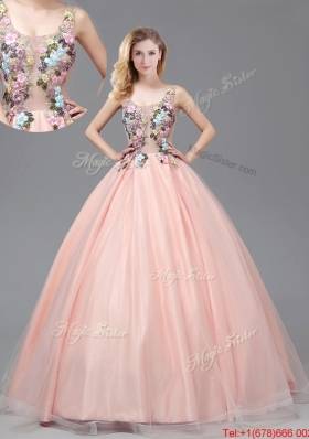 2017 Fashionable See Through Applique Decorated Bodice Criss Cross Quinceanera Gown