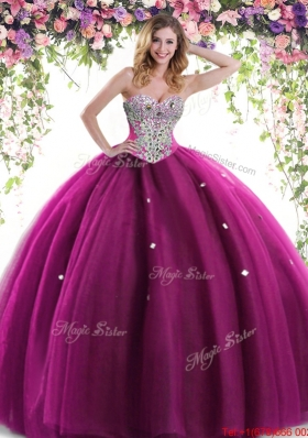 2017 Luxurious Tulle Beaded Quinceanera Dress in Fuchsia