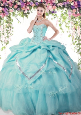 2017 New Style Beaded and Bubble Aqua Blue Quinceanera Dress