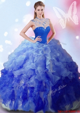 2017 Popular Big Puffy Beaded and Ruffled Quinceanera Dress with Zipper Up