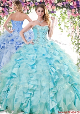 2017 Pretty Organza and Taffeta Baby Blue Quinceanera Dress with Beading