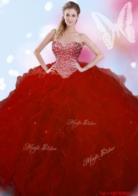 2017 Romantic Tulle Beaded and Ruffled Quinceanera Dress in Wine Red
