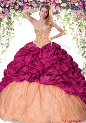 2017 Sweet Brush Train Beaded and Bubble Quinceanera Dress in Taffeta