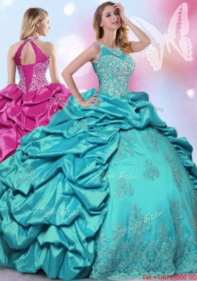 Best Halter Top Beaded and Bubble Quinceanera Dress in Turquoise