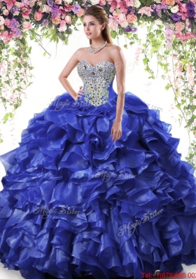 Best Organza Beaded and Ruffled Quinceanera Dress in Royal Blue