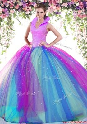 Cheap High Neck Beaded Rainbow Quinceanera Dress in Tulle