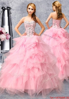 Gorgeous Beaded and Ruffled Organza Quinceanera Dress in Rose Pink