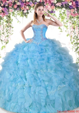 Gorgeous Organza Beaded and Ruffled Quinceanera Gown in Baby Blue