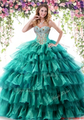 Gorgeous Organza Ruffled Layers and Beaded Quinceanera Dress in Turquoise
