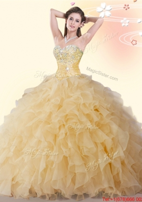 Lovely Gold Organza Quinceanera Gown with Beading and Ruffles