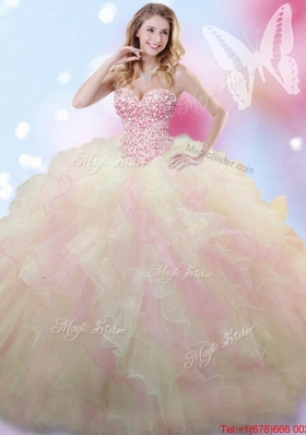 Luxurious Really Puffy Beaded and Ruffled Quinceanera Dress in Rainbow