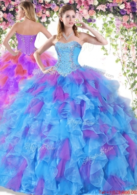 Modern Beaded and Ruffled Organza Quinceanera Dress in Multi Color