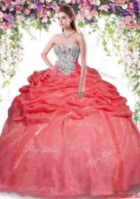 Modest Beaded and Bubble Red Sweet 16 Dress in Organza