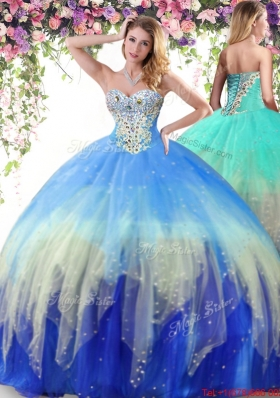 Modest Really Puffy Beaded Quinceanera Dress in Multi Color
