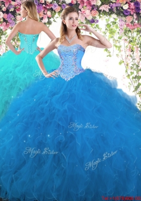 New Arrivals Beaded and Ruffled Tulle Sweet 16 Dress in Blue