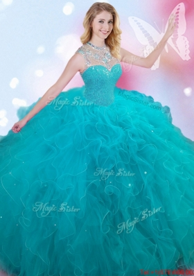 New See Through High Neck Beaded and Ruffled Teal Sweet 16 Dress
