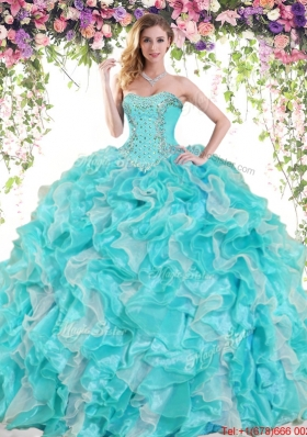 Perfect Ball Gown Sweetheart Ruffled Organza Quinceanera Dress with Beading