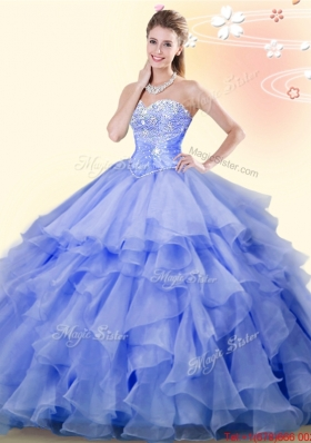 Romantic Beaded and Ruffled Organza Quinceanera Dress in Lavender