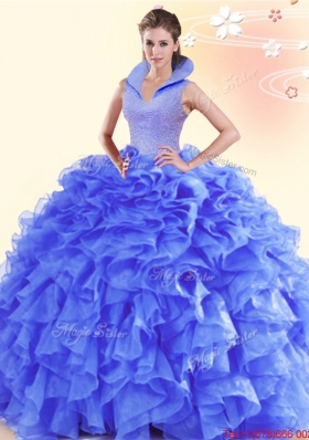 Simple Organza Ruffled and Beaded Sweet 15 Dress with High Neck