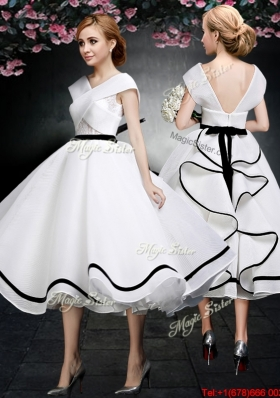 2017 Discount Tea Length V Neck Cap Sleeves Prom Dress in White and Black