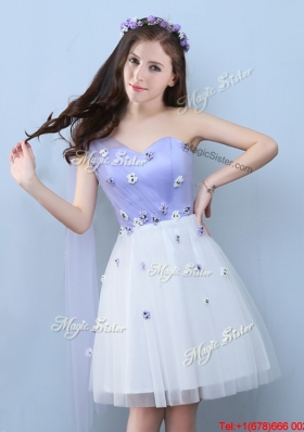 2017 Elegant One Shoulder White and Lavender Prom Dress with Appliques