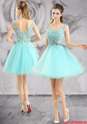 info for drop shipping Super discount 2017 New Style Applique V Neck Short Prom Dress in Apple Green