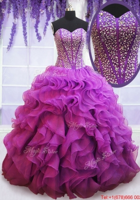 Affordable Visible Boning Eggplant Purple Quinceanera Dress with Beaded Bodice and Ruffles
